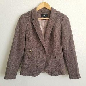 H&M Brown and Multi Color Tweed Blazer